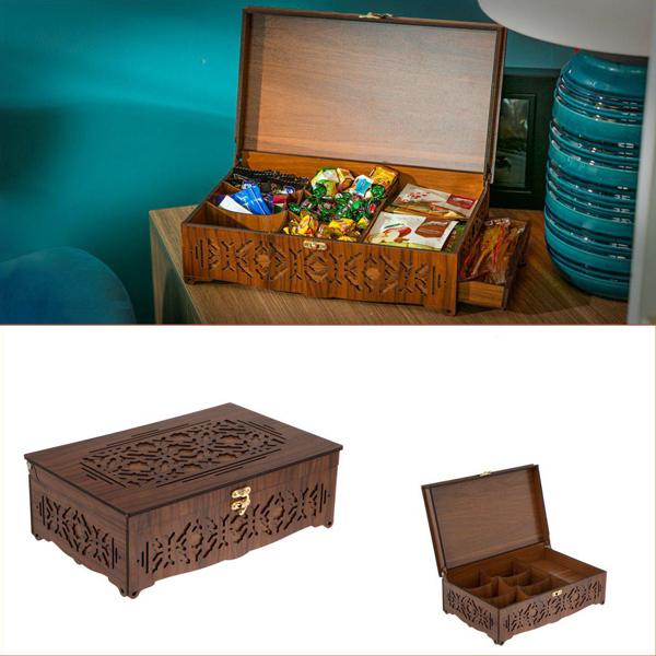جعبه هدیه چوبی و خشکبار و آجیل