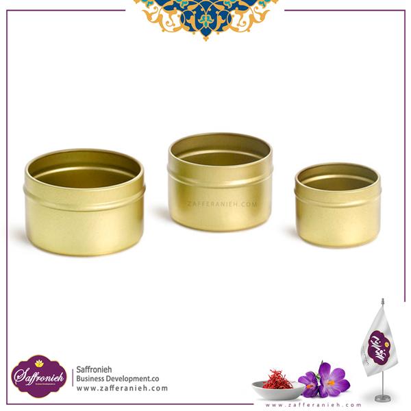 قوطی فلزی طلایی بدون طلق ارتفاع 7