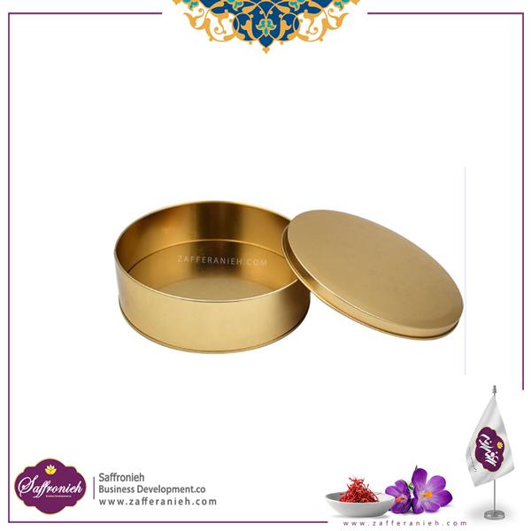 ظرف فلزی زعفران طرح دایره کوچک بدون طلق 200 طلایی