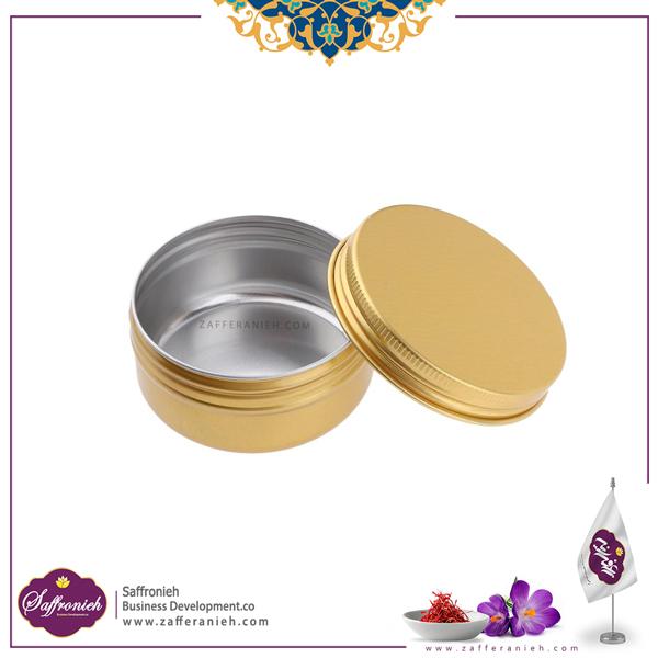 ظرف فلزی زعفران طرح دایره کوچک بدون طلق 100 طلایی