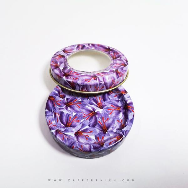 قوطی سه گرم طرح گل زعفران