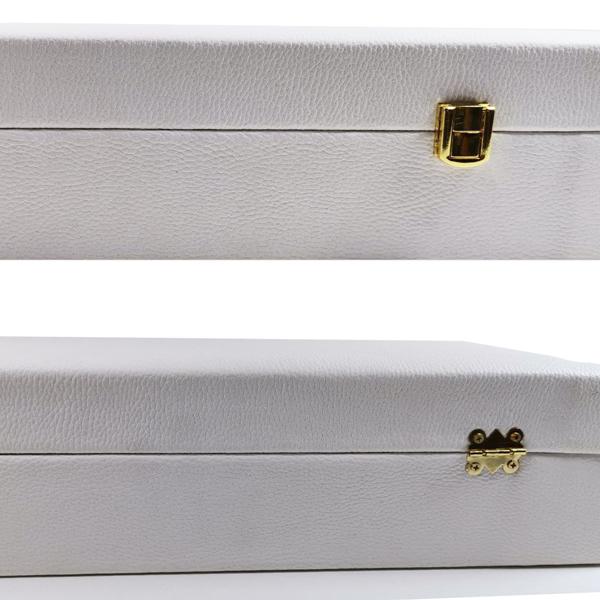 پک چرمی دو خاتم قوری دار با قفل لاکچری (در سه رنگ سفید و سیاه و قهوه ای)