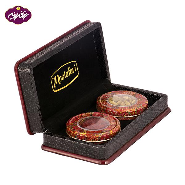 پک هدیه زعفران اصیل بزرگ همراه با 2 گرم زعفران و 8 گرم هل
