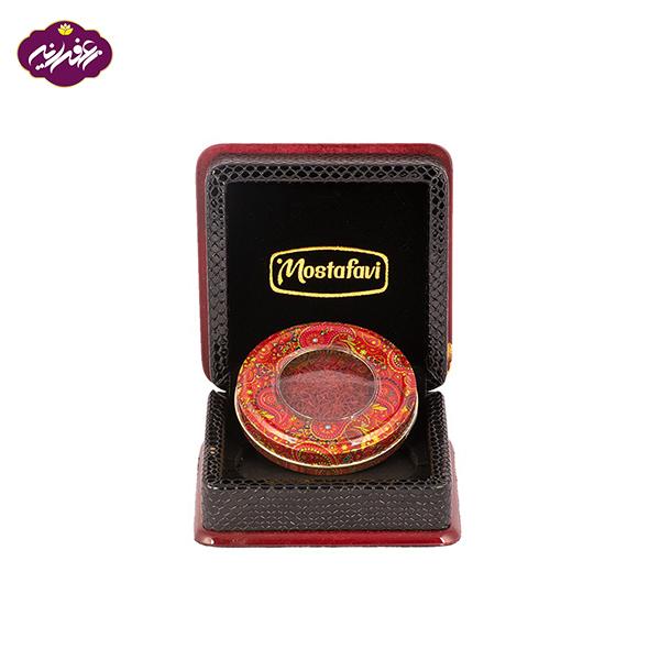 پک هدیه اصیل کوچک زعفران مصطفوی همراه با قوطی طرح ترمه